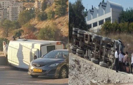 שוב נס בין הזמנים בצפת: הגדר מנע מרכב להתדרדר לתהום – בקיץ שעבר התהפכו משאית ואוטובוס