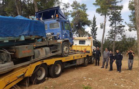 בפעילות משולבת של משטרת צפת הוחרמו משאיות שהשליכו פסולת בשטח ציבורי